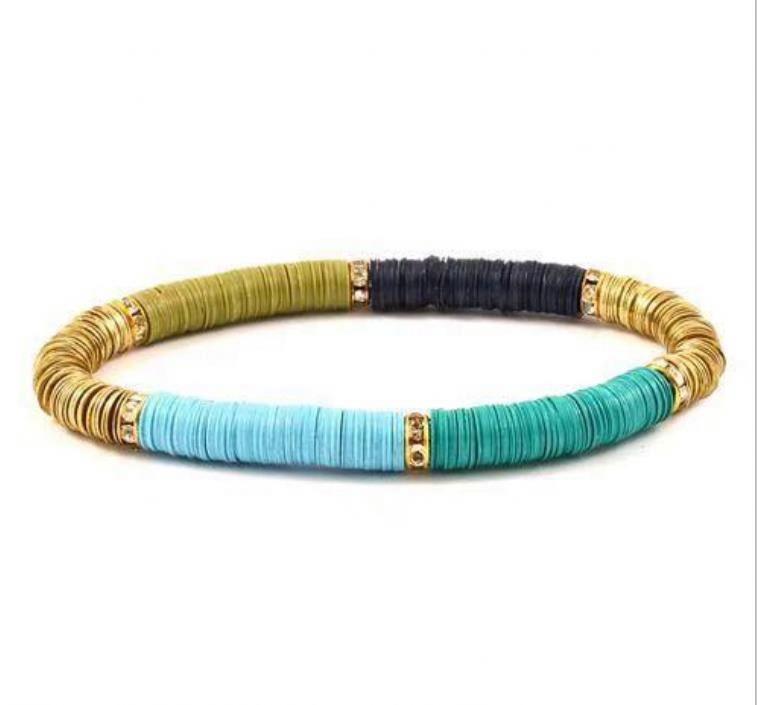 Handmade Colorful Heishi Beads Bracelet Flat Vinyl Disc Bracelet