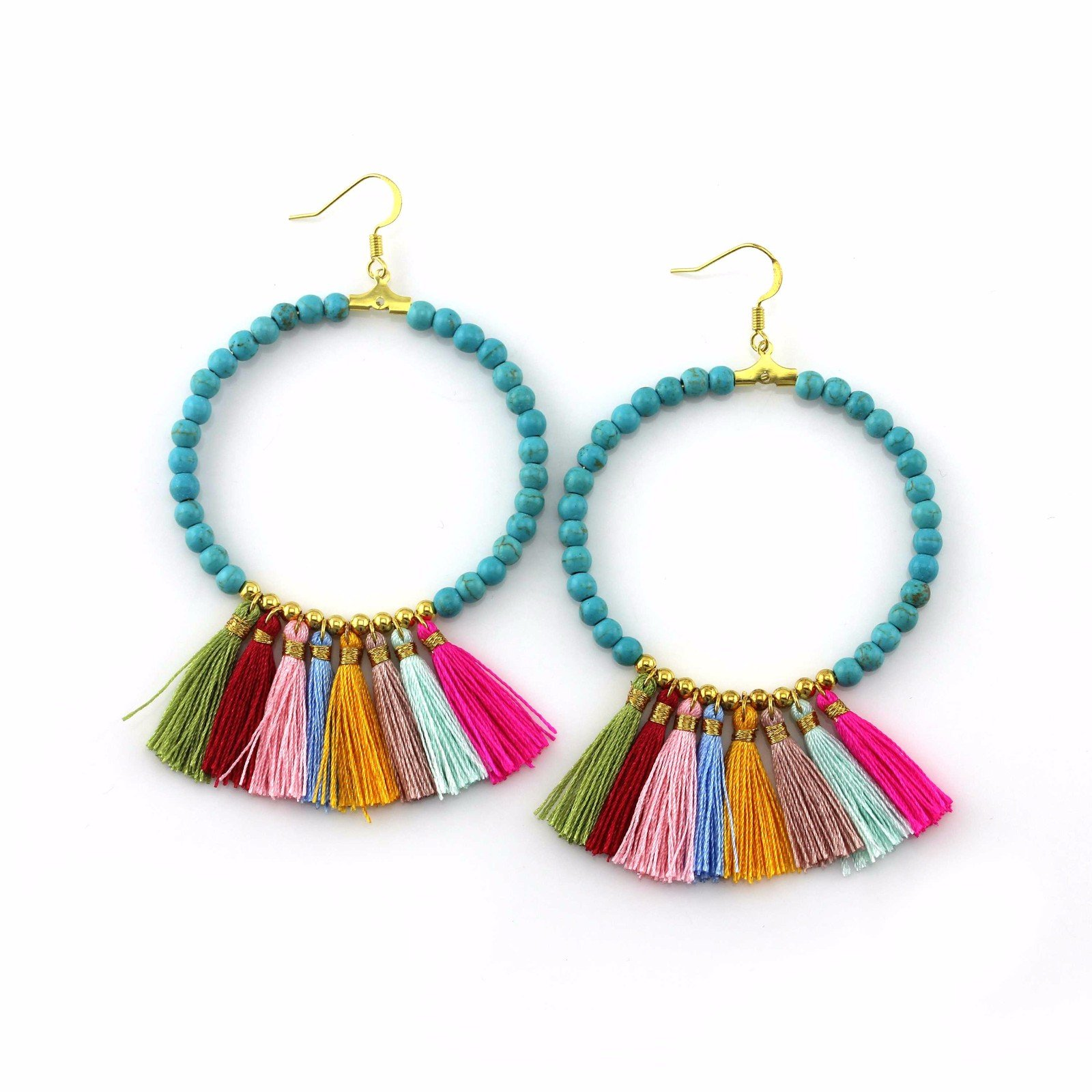 Handmade blue color beads 7 tassels style hoop earrings