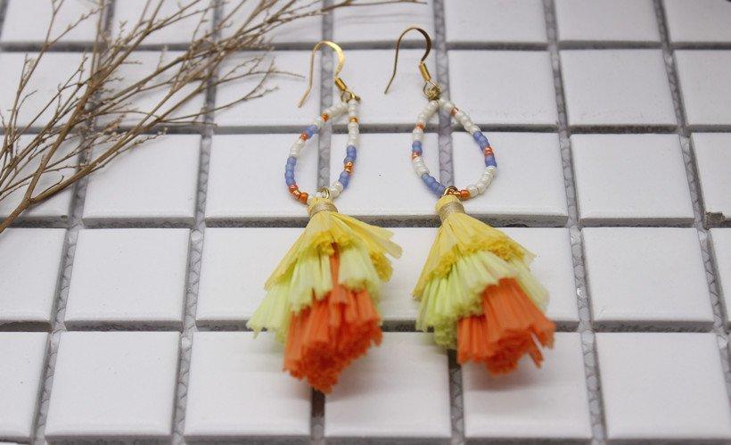 Custom fanshaped raffia earrings raffia TTT Jewelry
