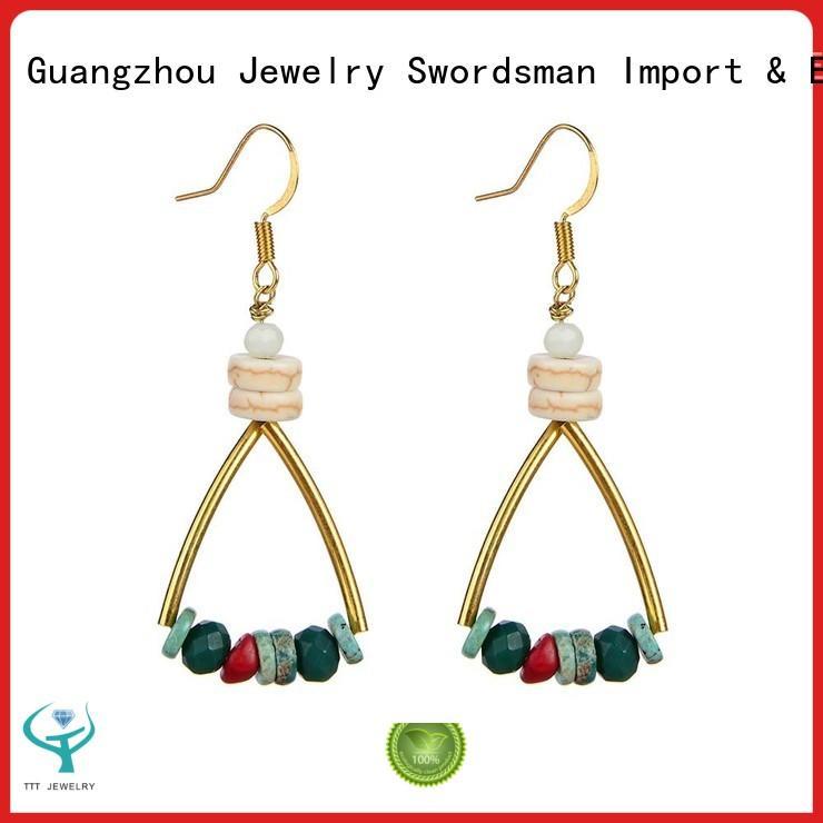 Crystal & Turquoise Dangle Hoop Earrings