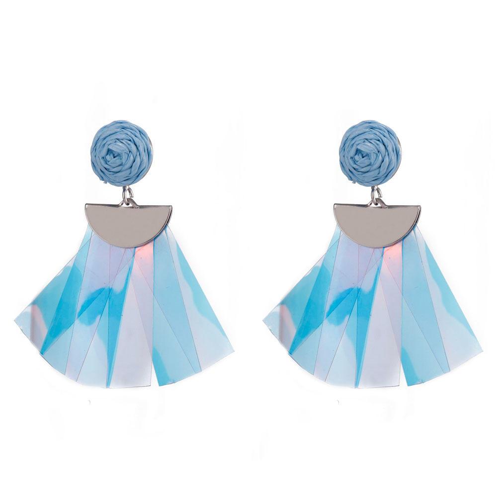 Handmade Raffia Plastic Pieces Tassel Earrings-1