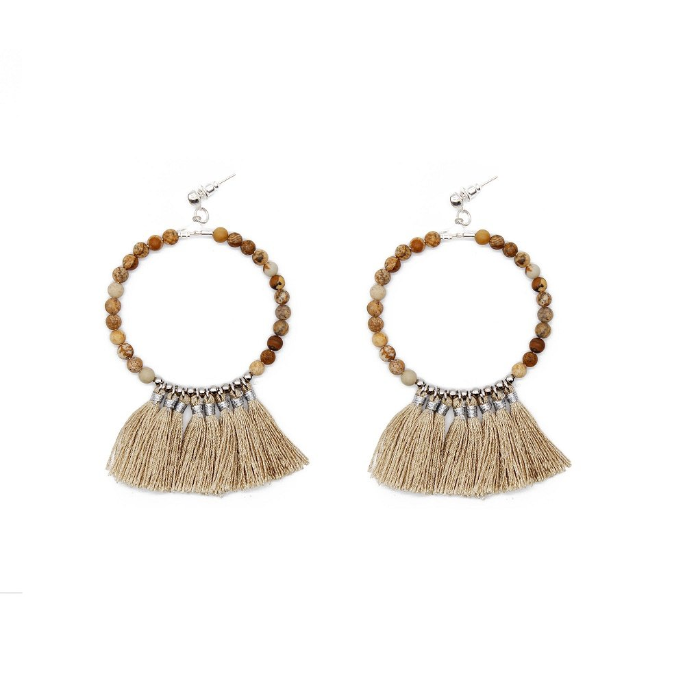 fashion handmade natural beads khaki color tassel hoop earrings