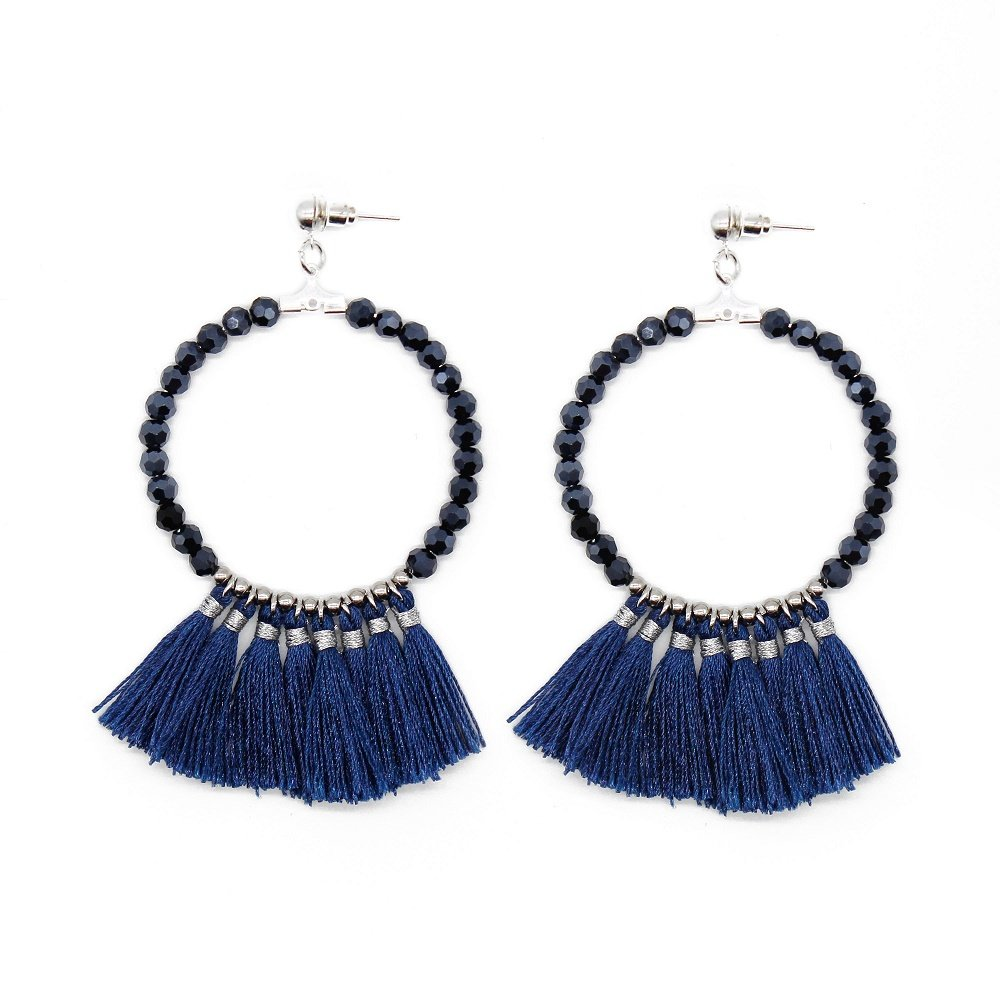 fashion handmade crystal beads navy blue color tassel hoop earrings