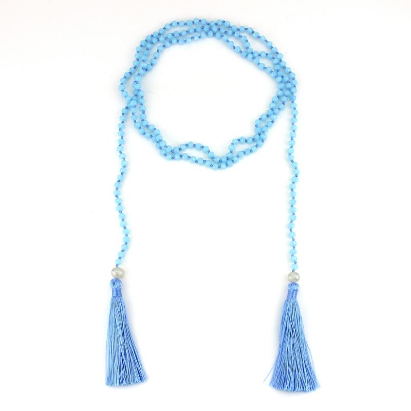 Blue Long Layer Wrap Handmade Necklace with Tassel