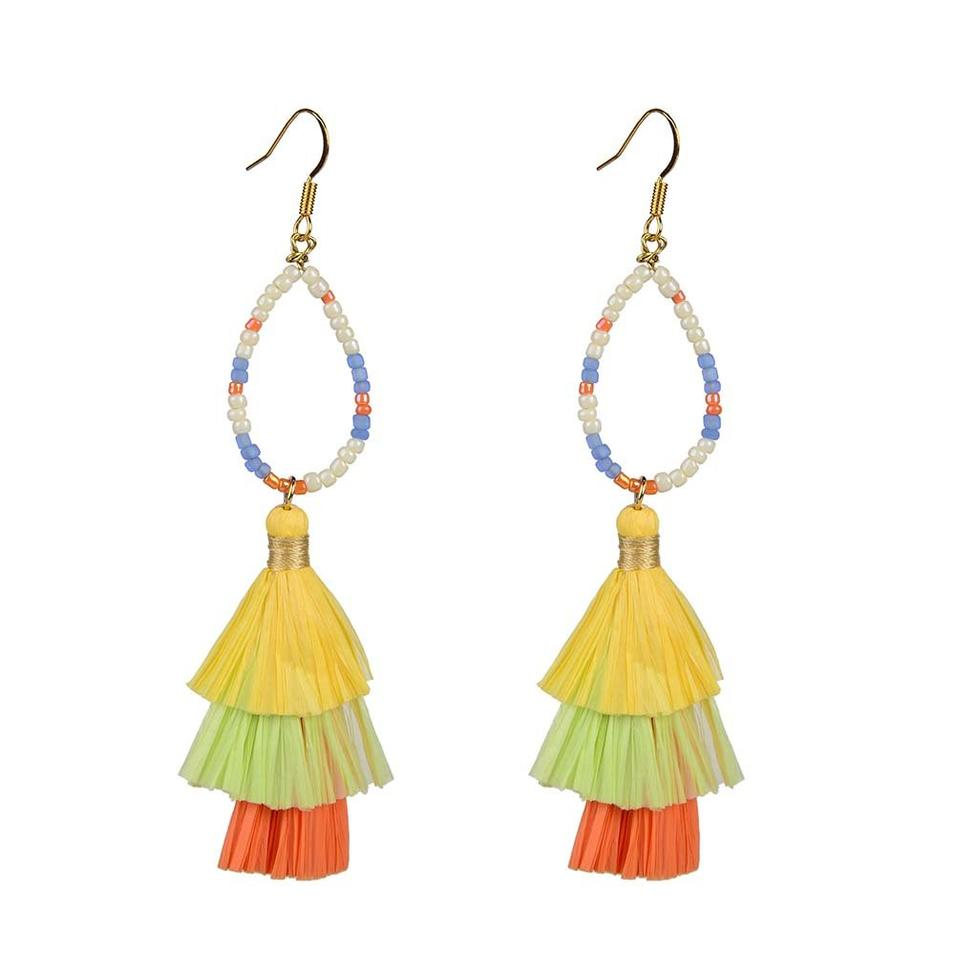 Lovely-Dress Style Raffia Earrings On Sale