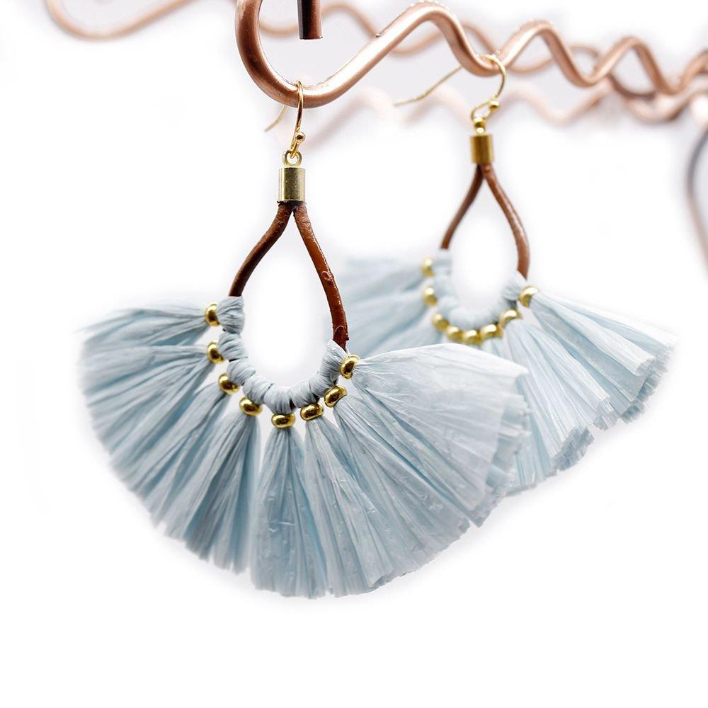 Boho Handmade Earrings with Statement Raffia