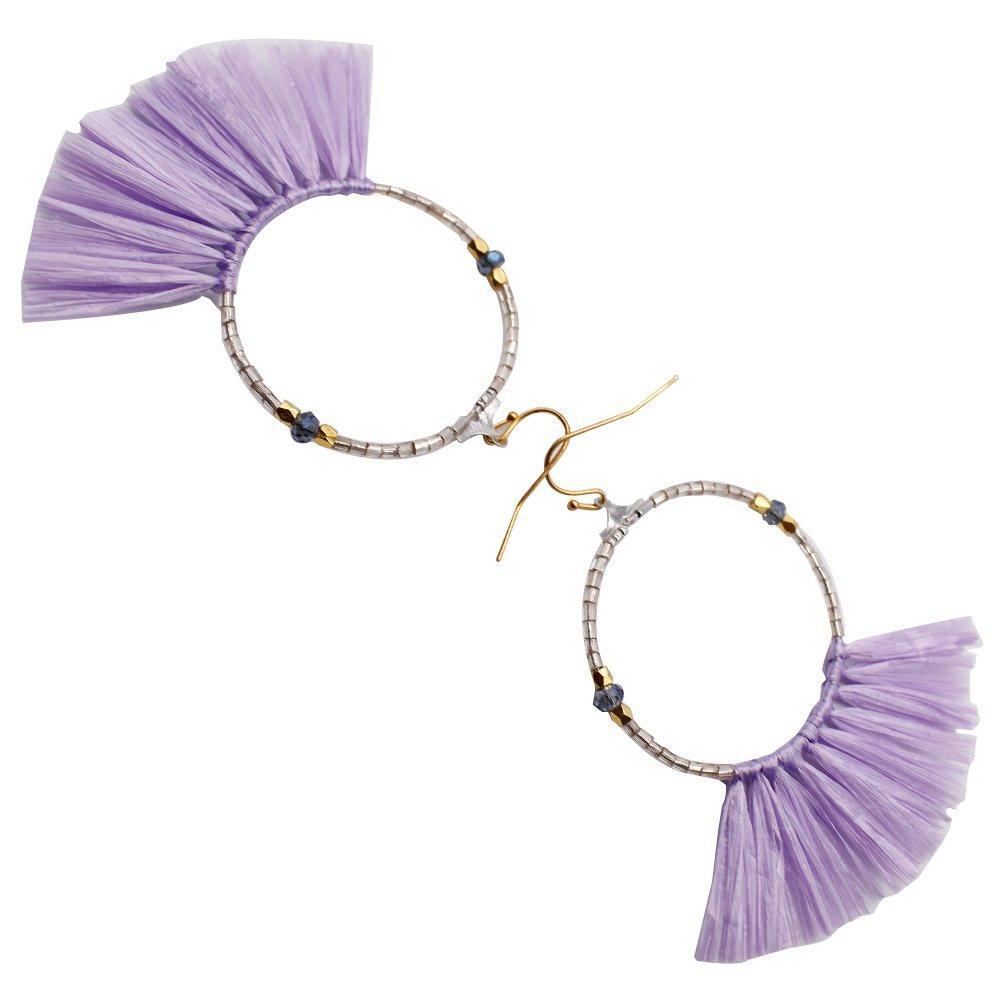 Statement Raffia Tassel Hoop Earrings