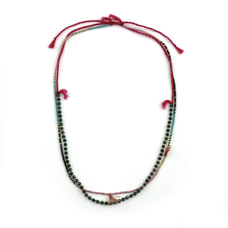 Dynamic Tiny Tassel Long Beaded Necklace
