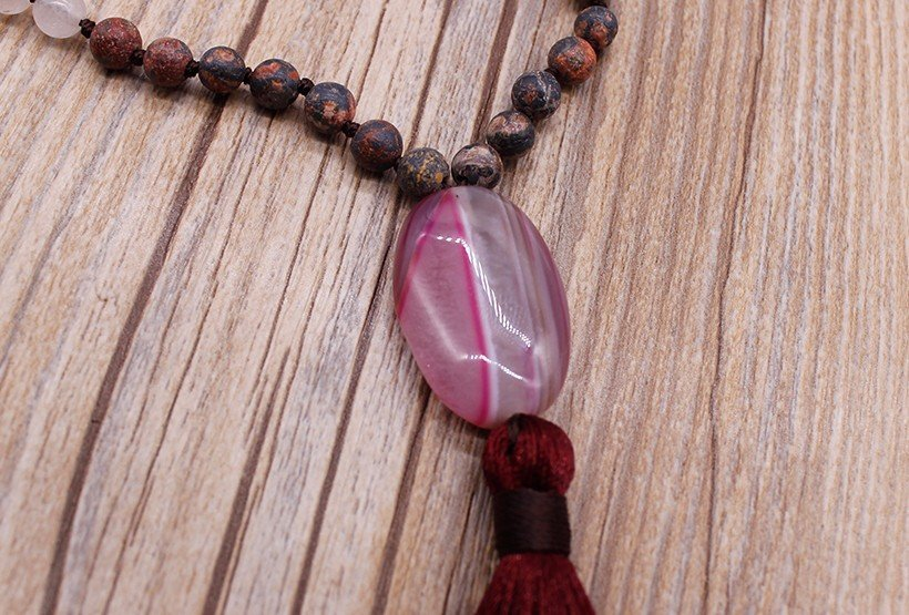 Pink Meaningful Pendant Handmade Necklace with Natural Stone