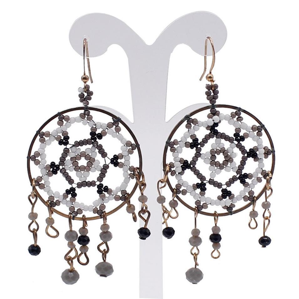 Fashionable Handmade Beaded Hoop Earrings