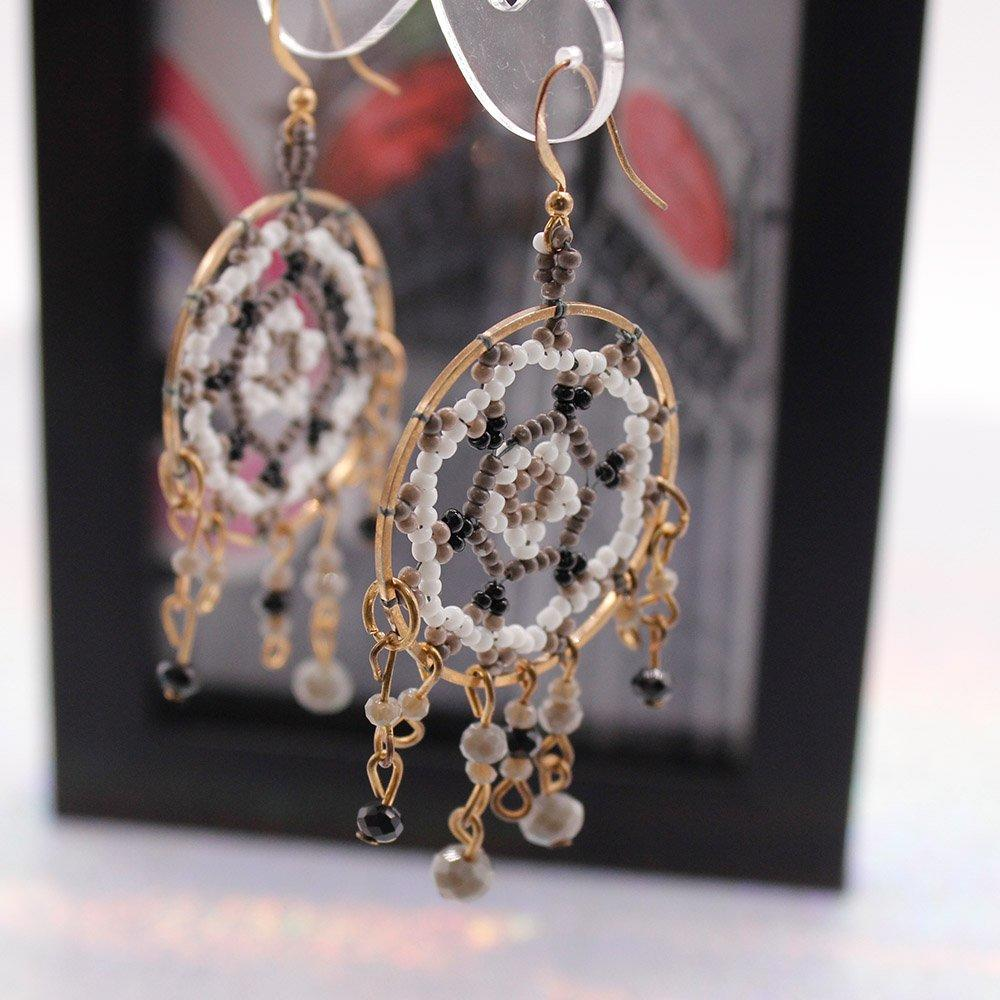 Fashionable Handmade Beaded Hoop Earrings