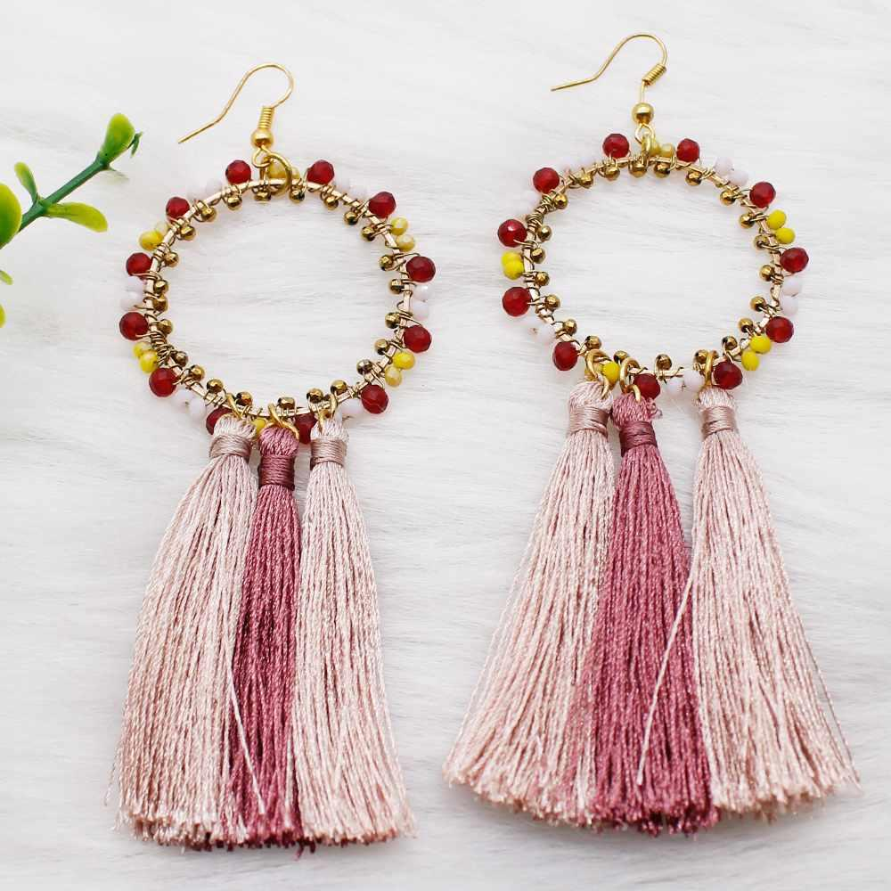 Colorful Crystal Beaded Hoop Designs Long Tassel Silk Thread Earrings for Parties Daily Wear