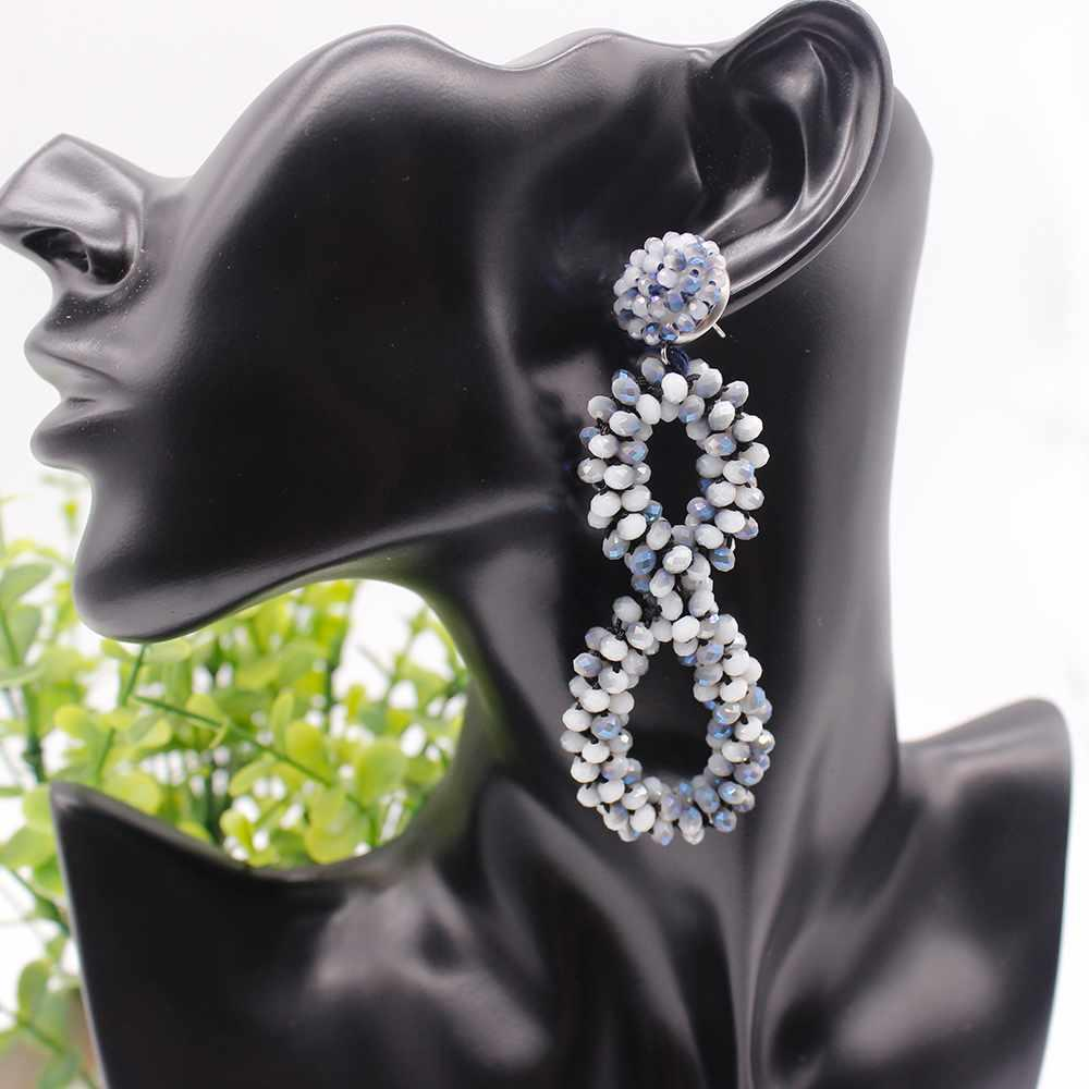 Romantic Wedding Crystal Beads 8-shaped Dangle Earrings for Women Girls