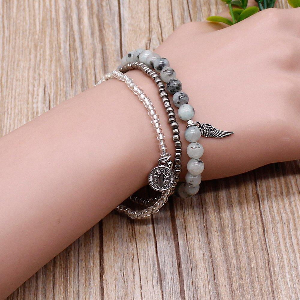 Charm Bracelet 3-Layer Elastic Cord Fashion Design