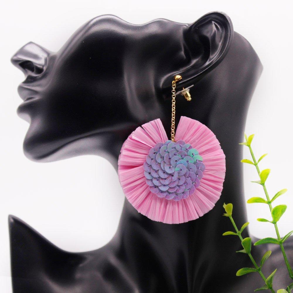 Raffia Earring Bohemian Disc Design Pure Handmade
