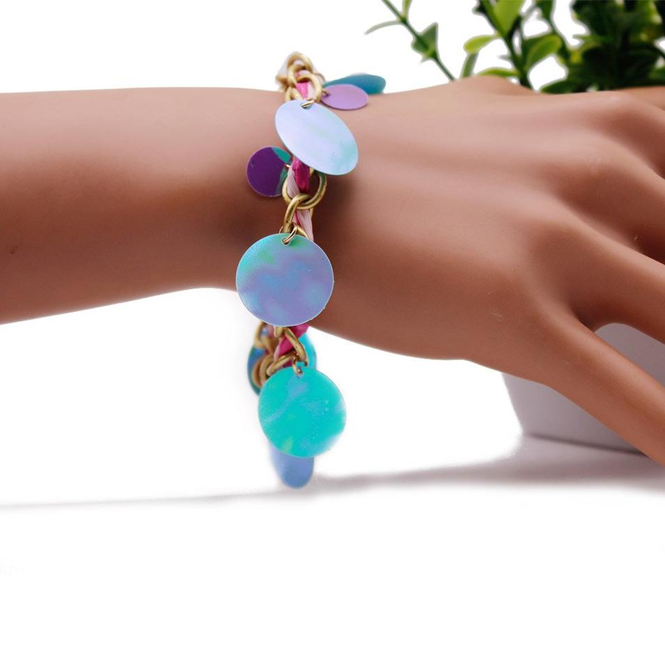 Charm Chain  Bracelet with Shining Disc and OT Clasp
