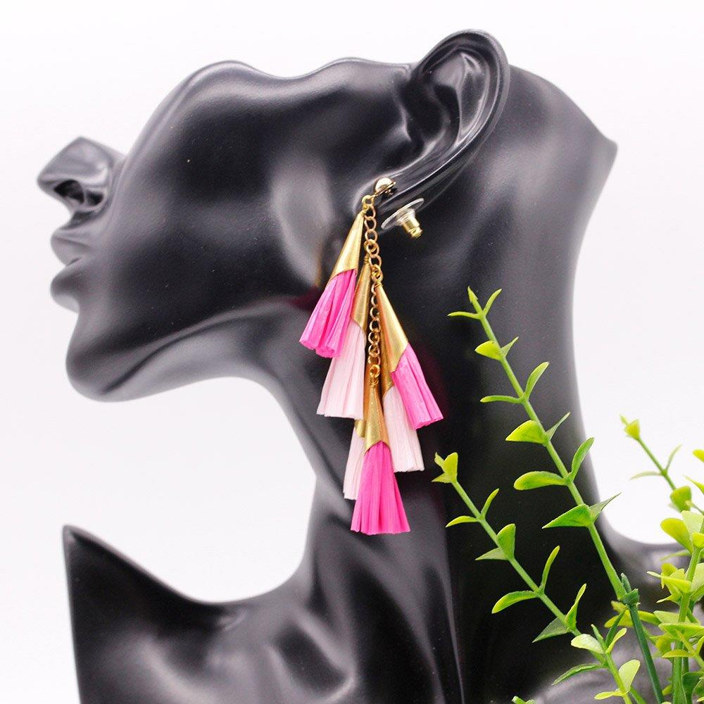 Daydreamer Tassel Earrings Fashion Raffia Earring Bright Color Pure Handmade