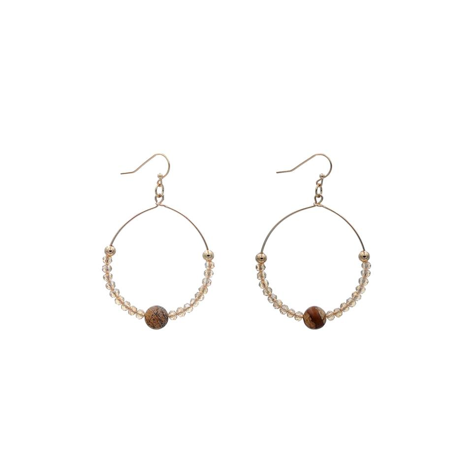 Handmade Stone Earrings With Square Crystal Seedbead
