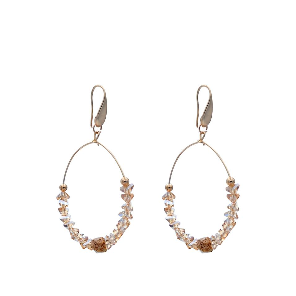 Fashion Handmade Natural Stone Earrings With Triangular Crystal Seedbead