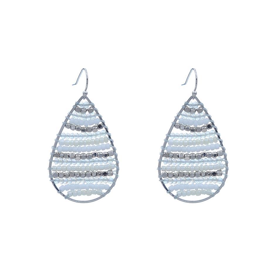 Handmade Small Beads Earrings With Crystal Seedbead