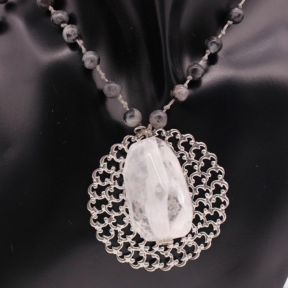 White Crystal Pendant  Handmade Necklace