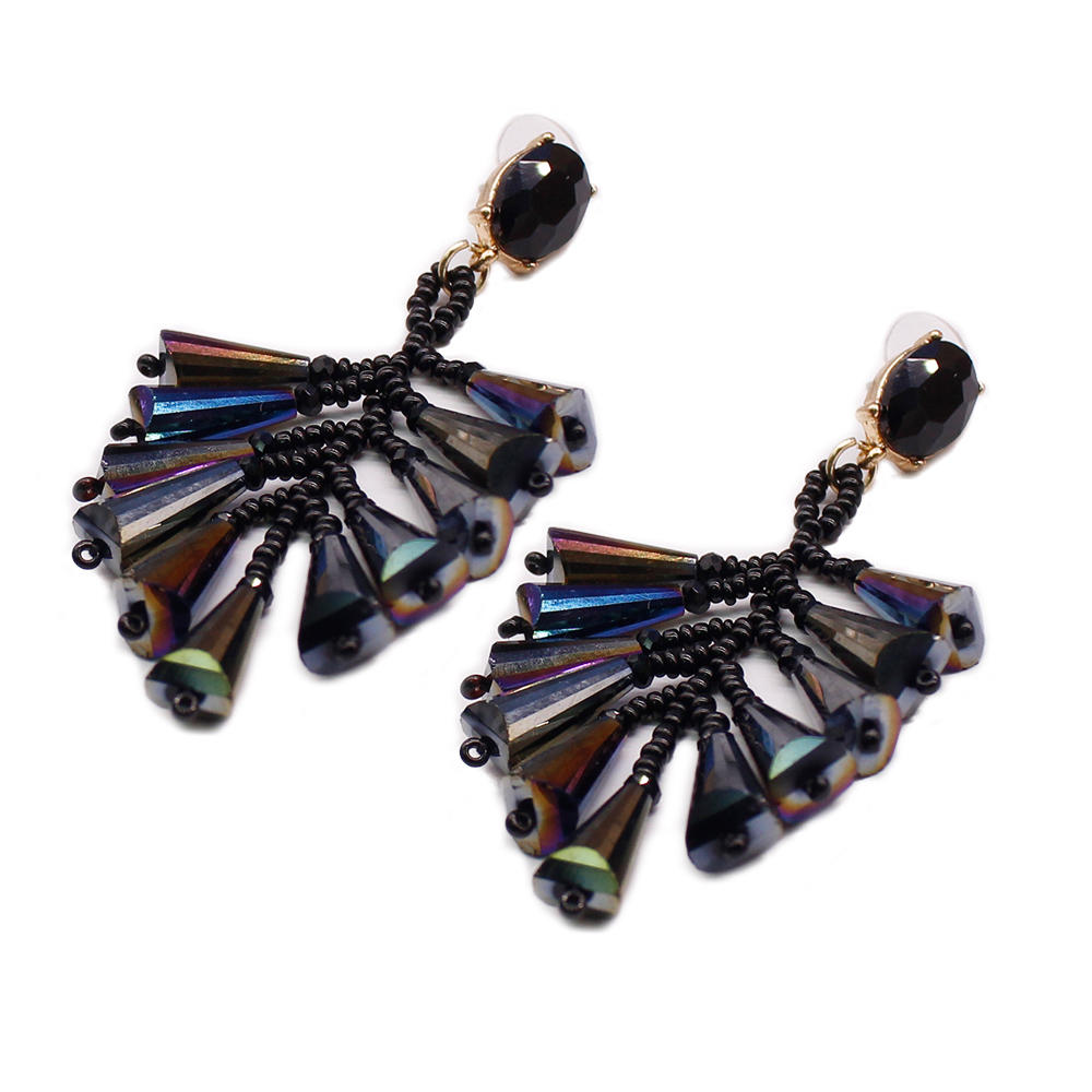 Chinese Seed Bead Cluster Crystal Earrings