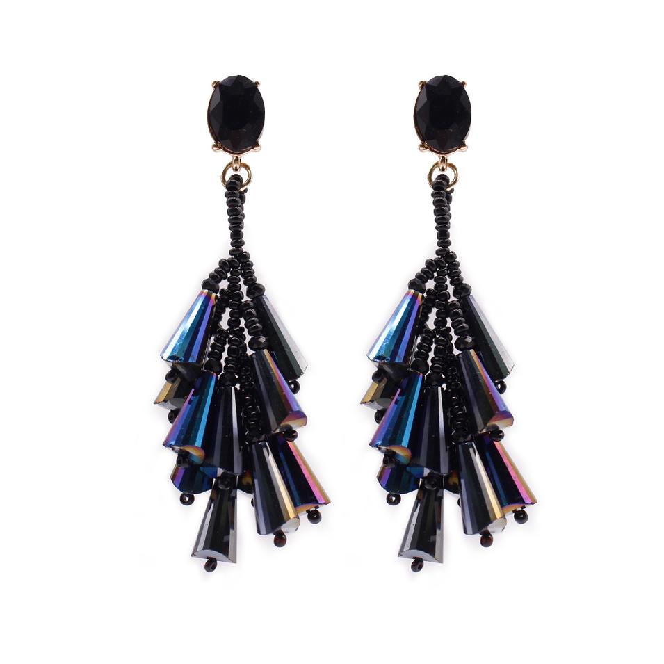 Chinese Seed Bead Cluster Crystal Earrings
