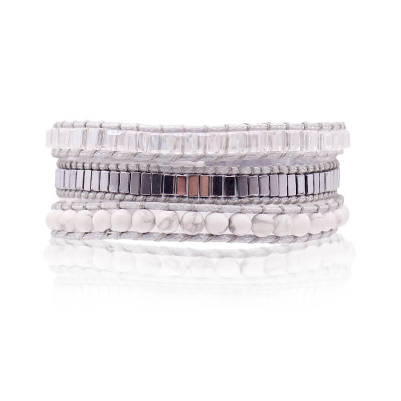 Handmade Stone And Crystal Wrap Bracelet With Alloy