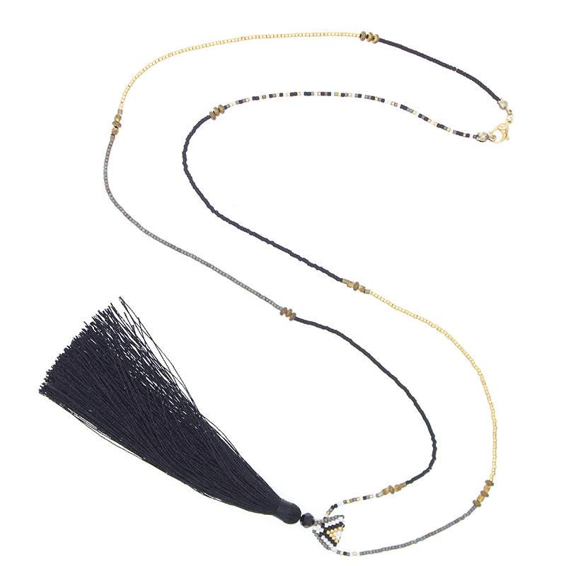 Handmade Miyuki Necklace With Tassel For Women