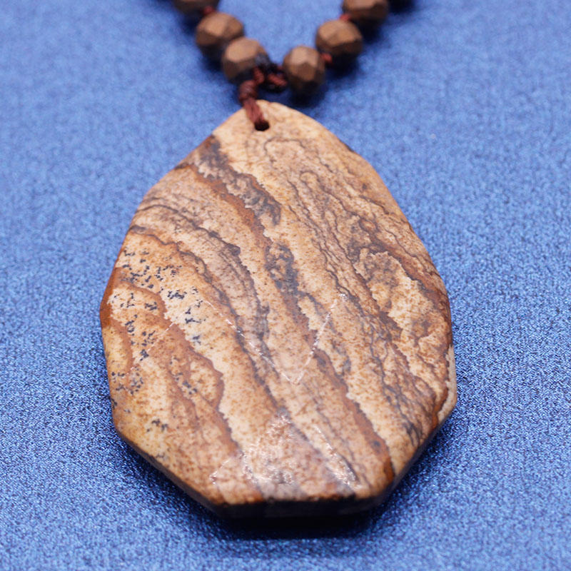 Handmade Natural Stone Picture Jasper Pendant Necklace