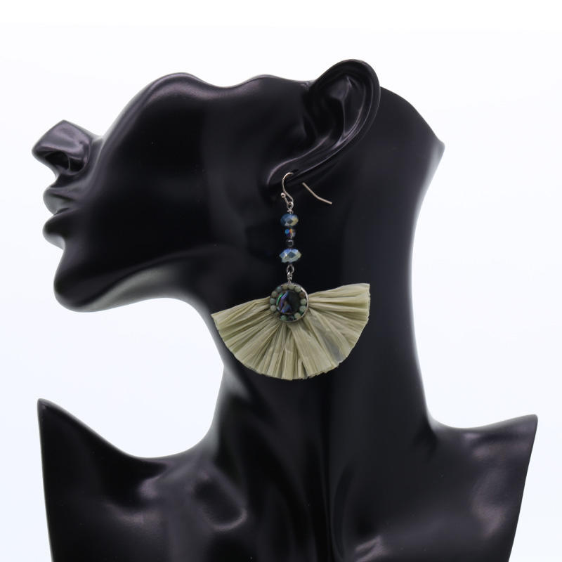 Handmade Raffia Fan-shaped Earrings With Crystal Beads and Abalone Shell