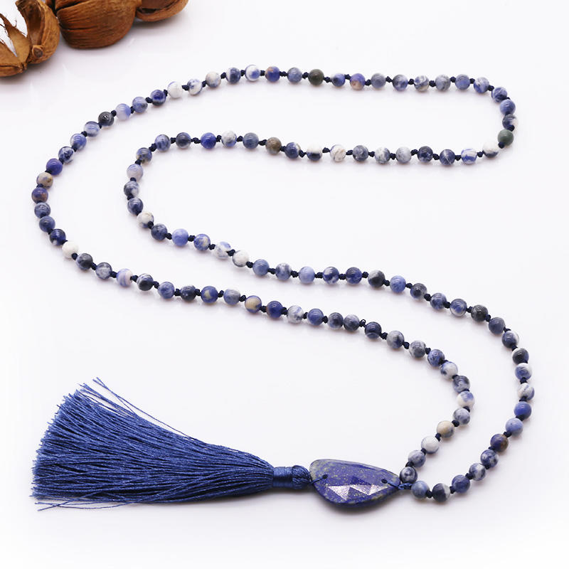 Handmade Natural Blue-vein Stone Beads Neckalce With Lapis lazuli Pendant