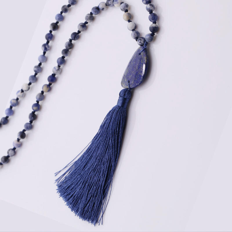 Handmade Natural Blue-vein Stone Beads Neckalce With Lapis lazuli Pendant