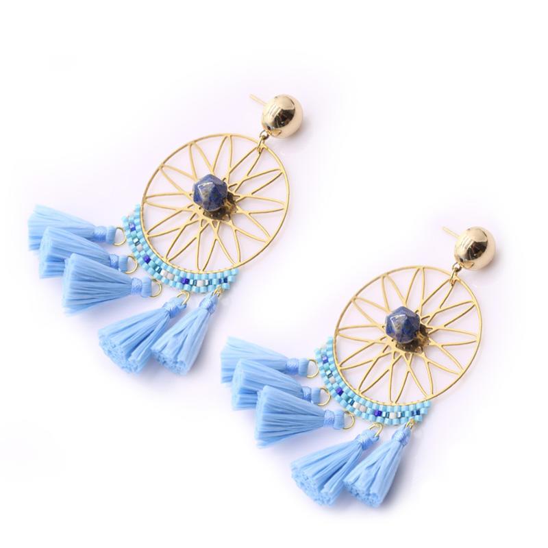 Handmade Stone Raffia Tassel Hoop Earrings