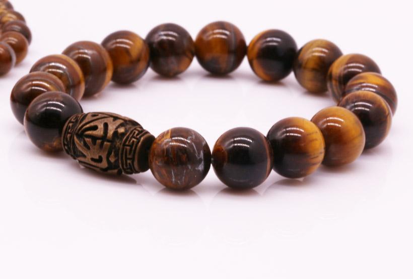 Wholesale Handmade 108 Natural Tiger Eyes Stone Beads Mala Bracelet Necklace Set