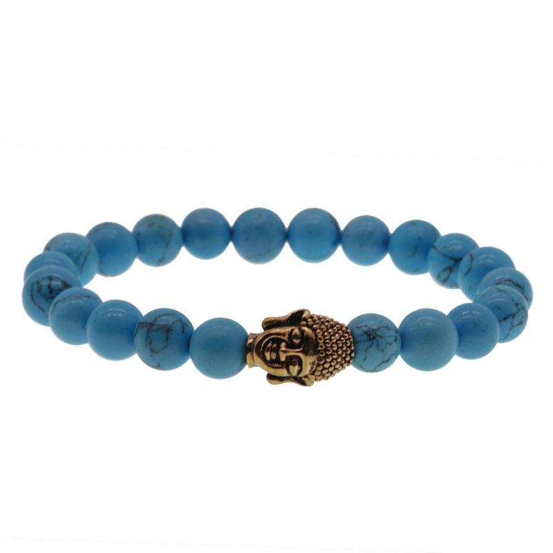 Handmade Blue Turquoise Bracelet With Charm Buddha Head