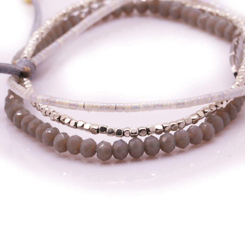 Handmade Miyuki Crystal and Stainless steel Beads Layered Bracelet