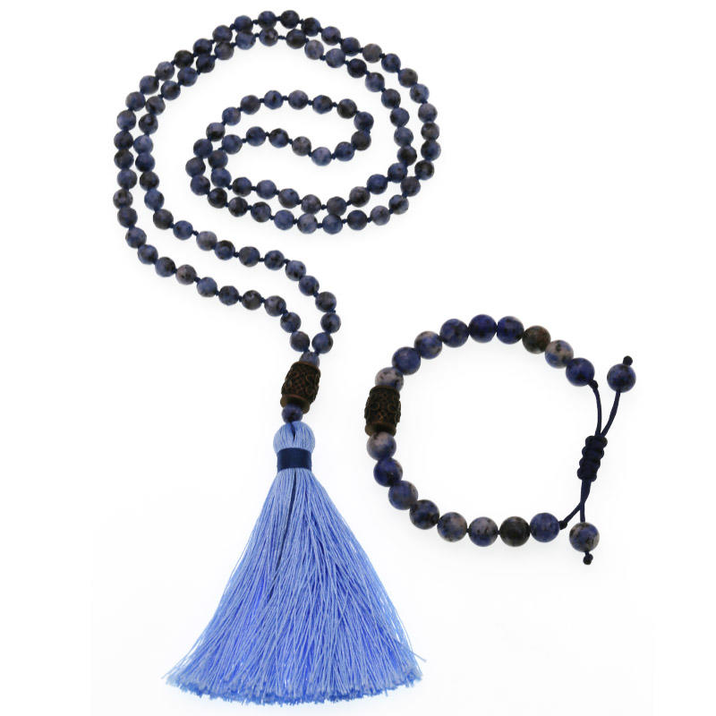 Handmade Blue-vein Stone Beads Wholesale Mala Necklace Bracelet Set