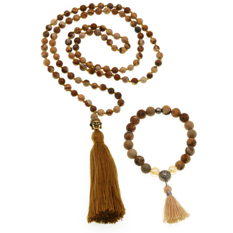 Handmade Picture Jasper Beads Mala Necklace Bracelet Set