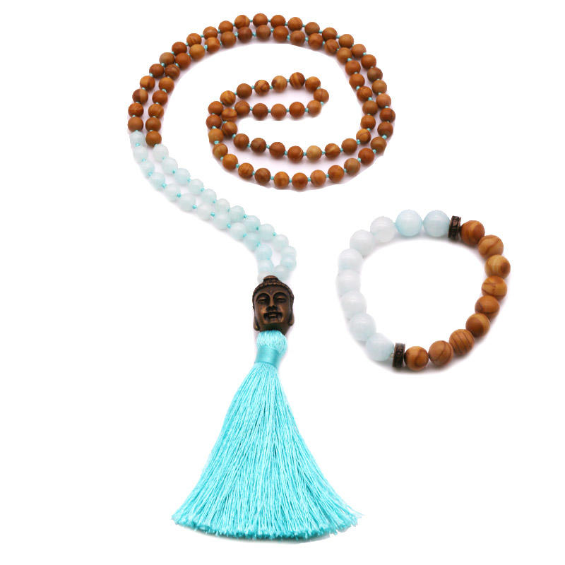 Handmade Serpenggiante & Amazonite  Beads Mala Necklace Bracelet Set