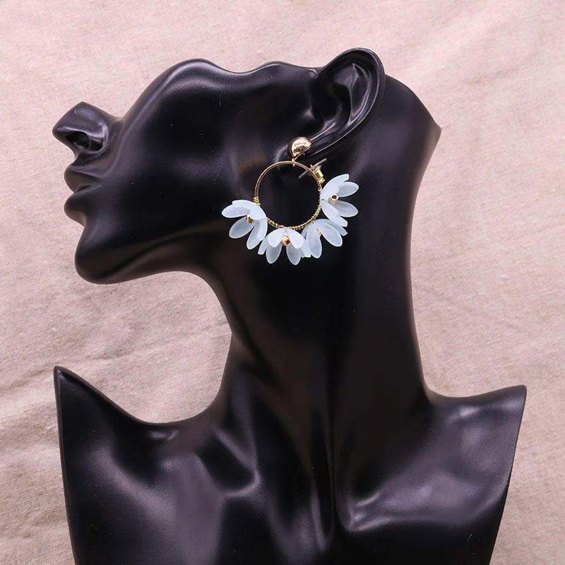 Handmade Resin Petals Hoop Earrings With Copper Accessory