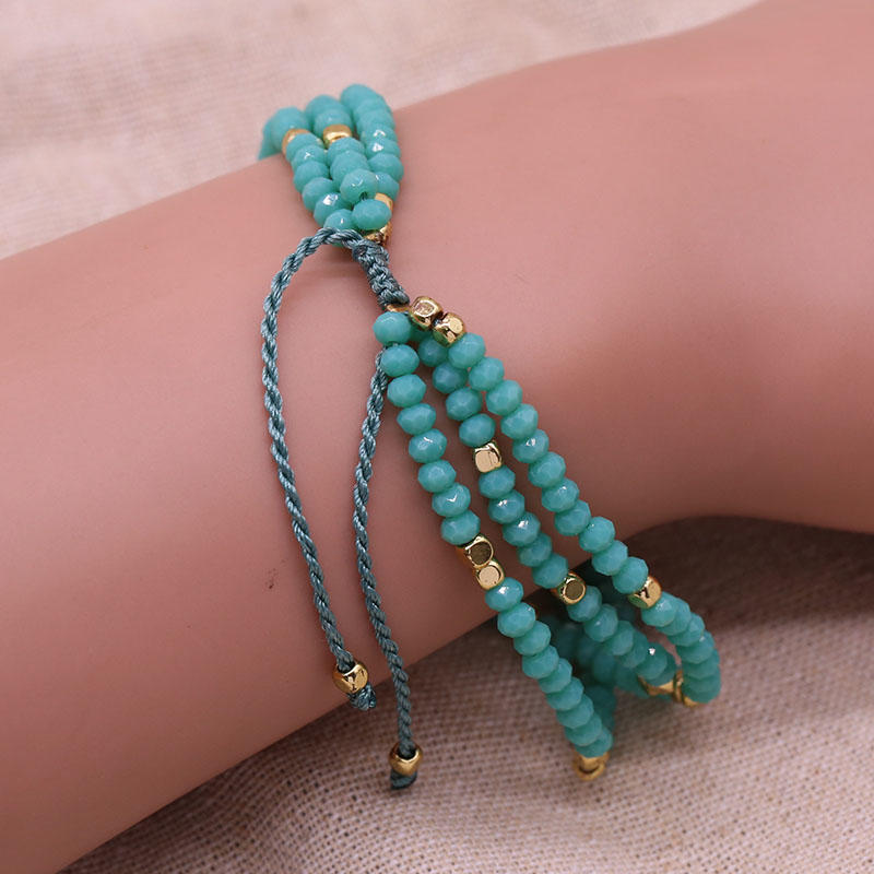 Handmade Multilayer Crystal Beads Bracelet With Copper Accessories