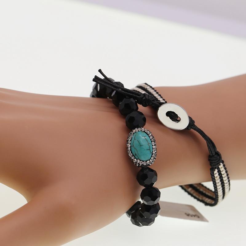 Handmade Natural Stone Crystal Copper Beads Wax Cord Bracelet Set