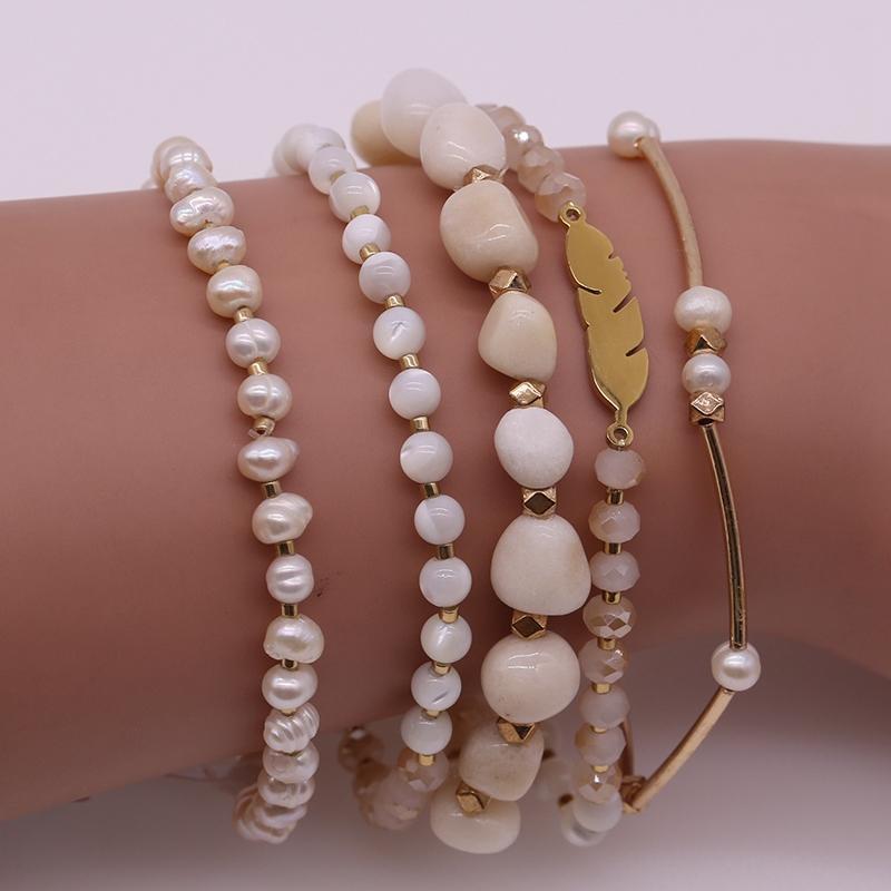 Handmade Natural Stone And Miyuki Crystal Beads Mutilayer Bracelet