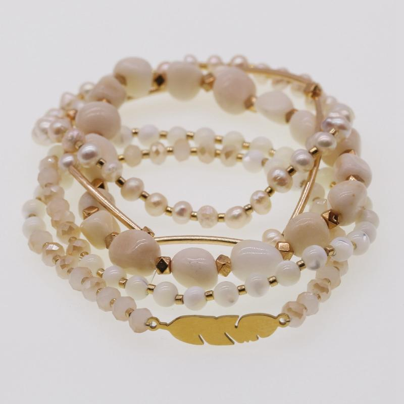 Handmade Natural Stone And Miyuki Crystal Beads Mutilayer Bracelet