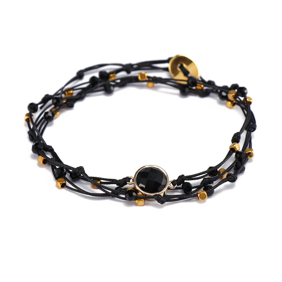 Handmade Mutilayer Cord Bracelet With Crystal Charms