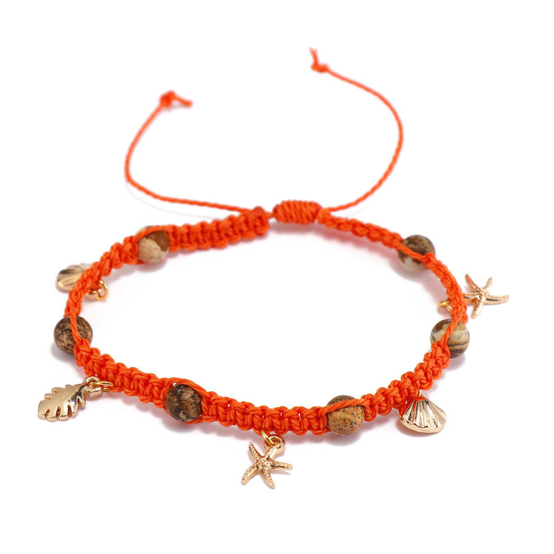 Handmade Natural Stone Beads Wax Cord Bracelet With Charms