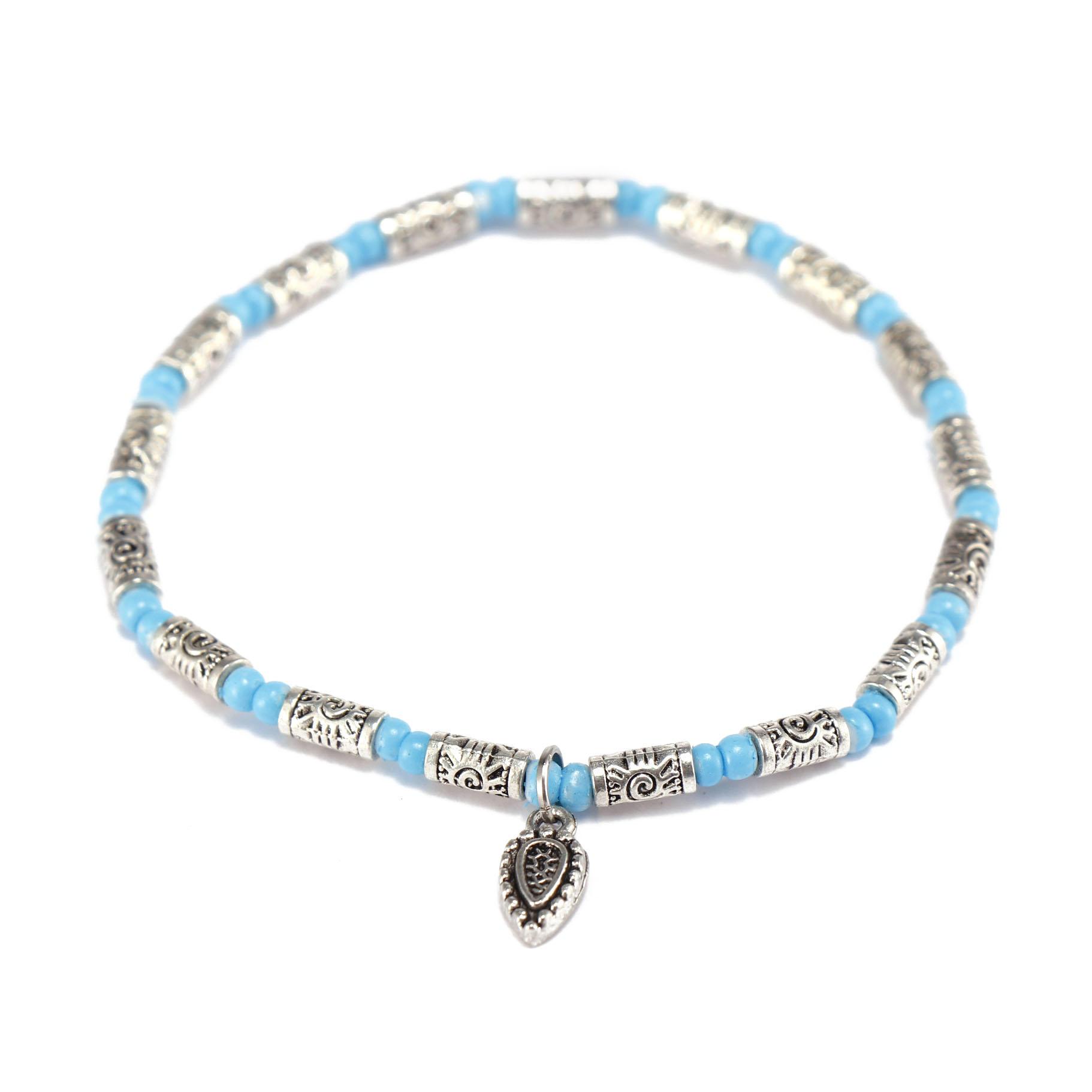 Handmade Seed Bead Alloy Charms Bracelet