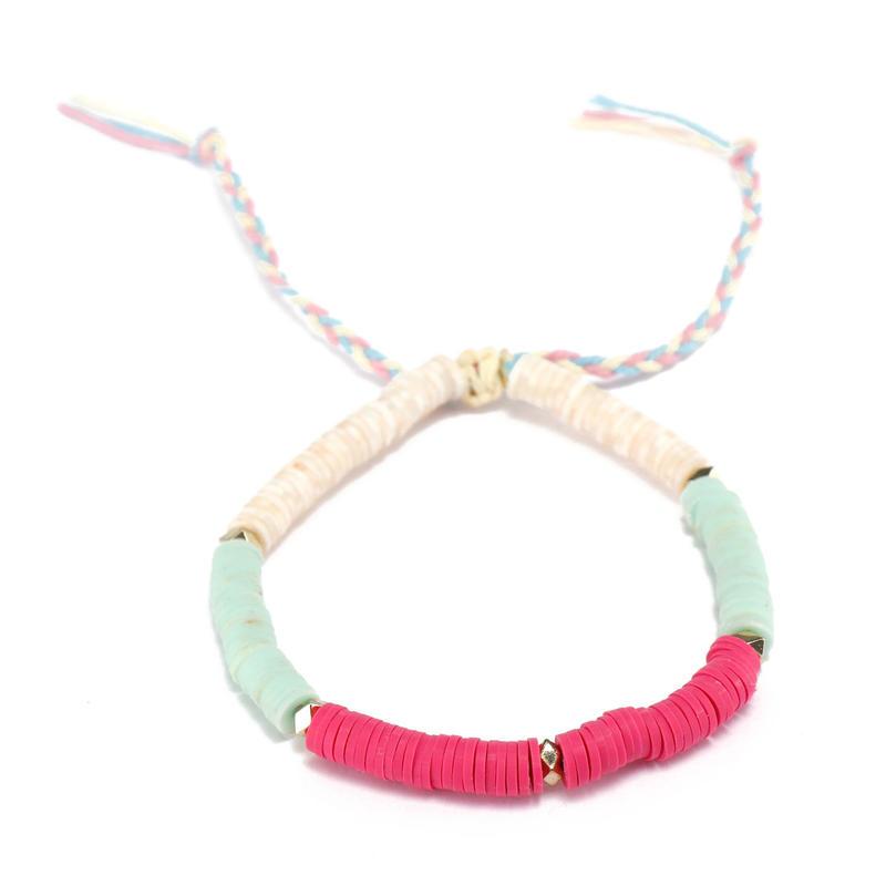 Handmade Plastic Pieces Bracelet With Copper Accessories