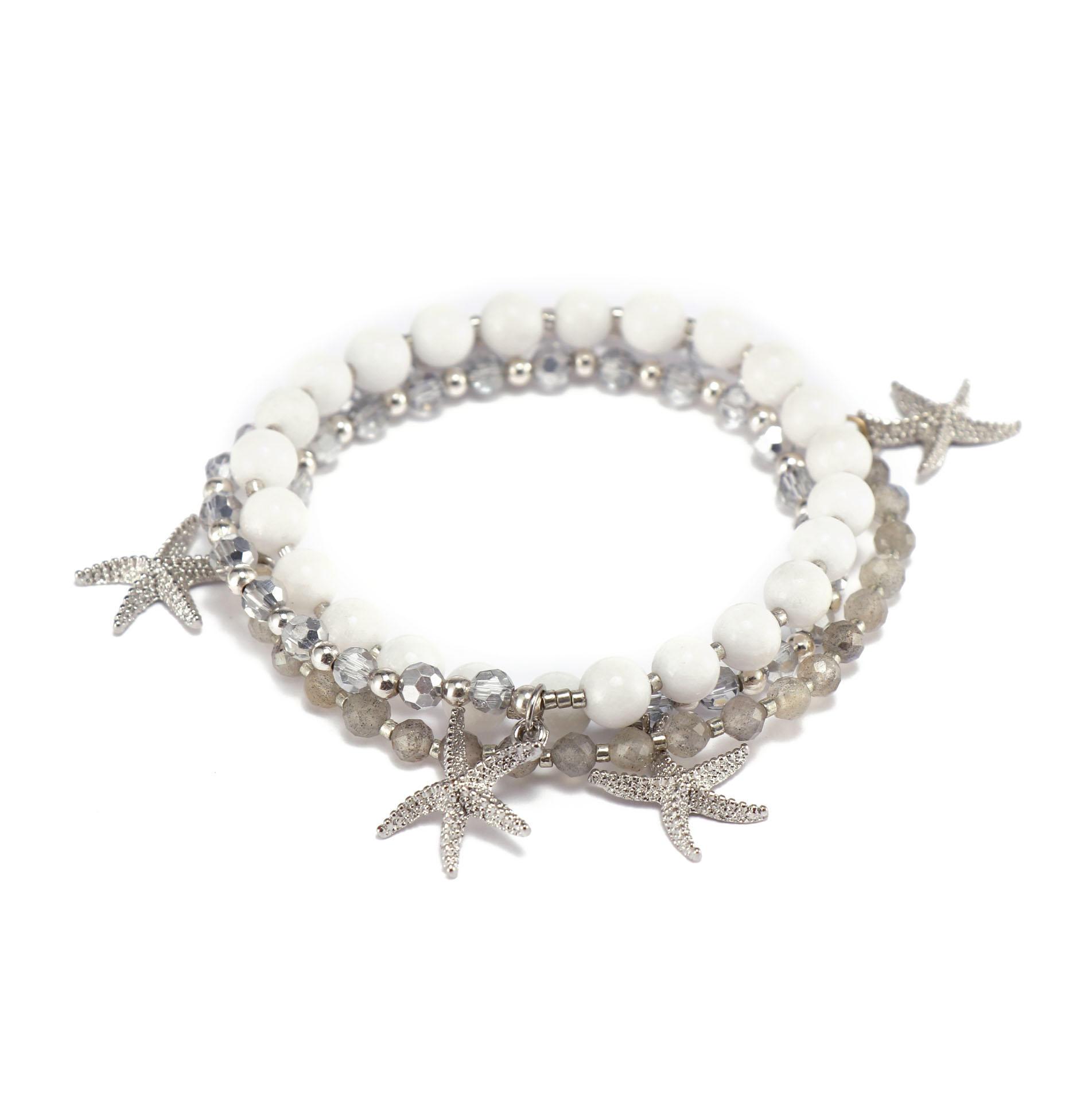 Handmade Mutilayer Stone And Miyuki Bracelet With Crystal Beads
